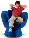 Mitt Chair  - novelty chairs - The best seat in the house...hands up! They�ll love the plush polyester micro suede comfort and swivel mechanism that this whimsical chair offers. Polyurethane foam interior; sturdy wood frame. Fun furniture for boys rooms