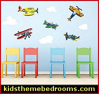 Vintage Airplane Fabric Wall Decals, Set of 5 Planes, Biplane, and Propeller Planes with Clouds