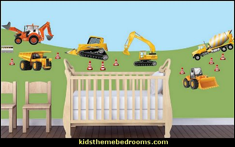 Construction bedrooms decorating construction trucks for Construction themed bedroom ideas