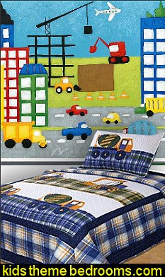 Construction bedrooms decorating construction trucks for Construction site wall mural