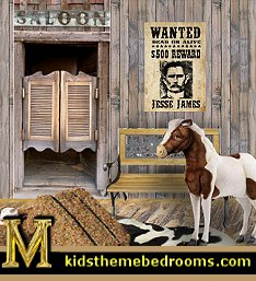 cowboys Wild West Saloon wal decal mural-maries_manor_1  sc 1 st  Boys Theme Bedrooms & cowboy theme bedrooms cowboy theme boys bedroom cowboys indians ...