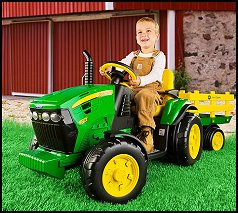 john deere ground force ride on tractor is designed to look just like a real