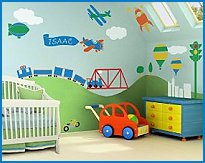Transportation Bedroom Wall Decor   32 Large Self Adhesive Kids Wall Mural  Stencils   Zoom